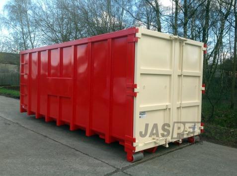 Container 6000 x 2300 x 2300 in 2 kleuren gespoten, met voorziening voor reclamebord
