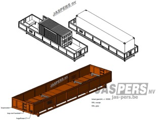 ontwerp lekbak voor zeecontainers 20 voet en 40 voet